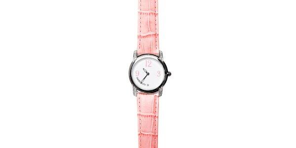 Dámské hodinky Morellato s růžovým koženým páskem a diamantem