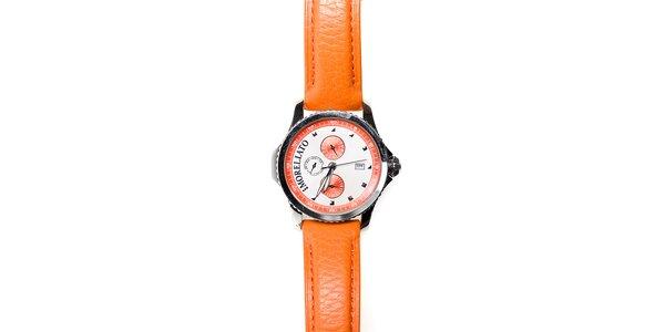 Pánské hodinky Morellato s oranžovým koženým páskem