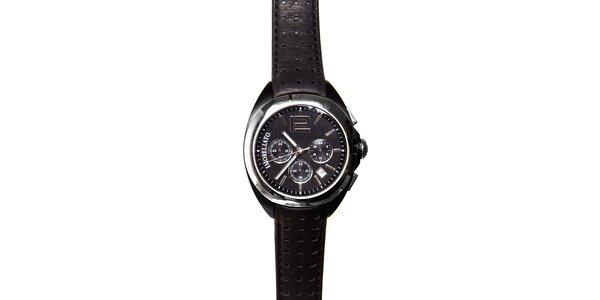 Pánské černo-stříbrné hodinky Morellato s koženým páskem
