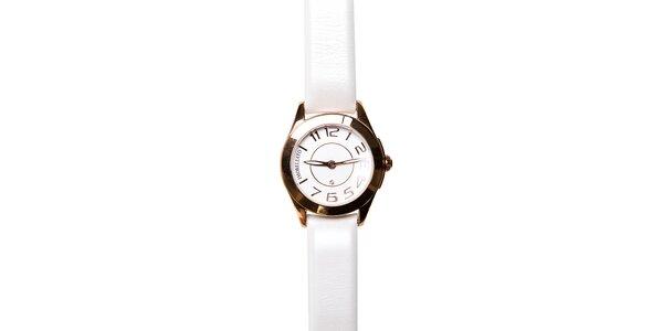 Dámské zlaté hodinky Morellato s perleťovým koženým páskem