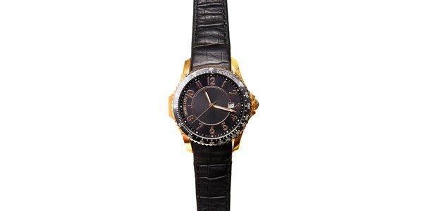 Dámské zlaté hodinky Morellato s černým koženým páskem