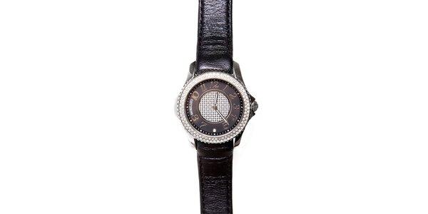 Dámské černo-stříbrné hodinky Morellato s černým koženým páskem