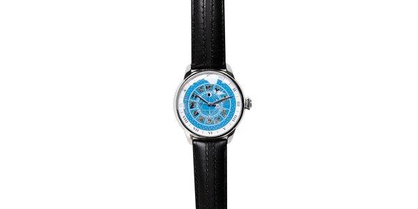 Pánské hodinky Morellato se zlatým zvěrokruhem a černým koženým páskem