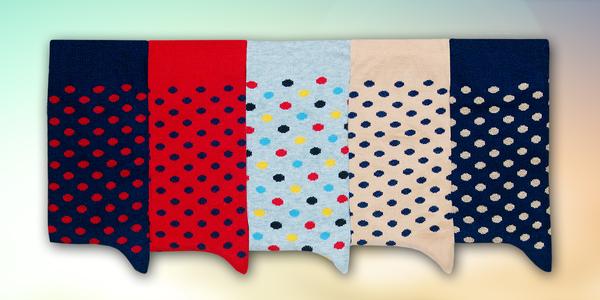 5 párů puntíkatých ponožek vyrobených v ČR