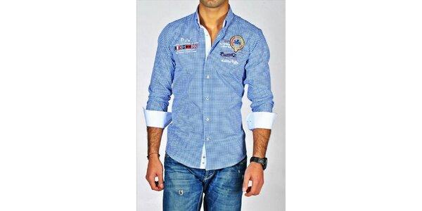 Pánská modře kostkovaná košile Pontto