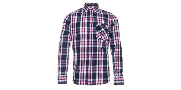 Pánská modro-růžová kostkovaná košile Lois