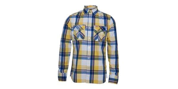 Pánská modro-žlutá kostkovaná košile Lois