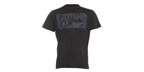 Pánské černé tričko Lois s šedým potiskem