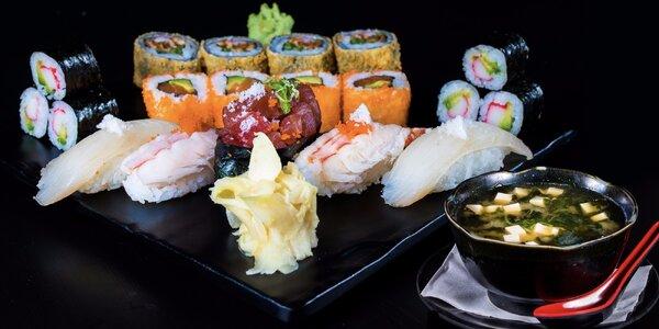 Japonský oběd s polévkou a vynikajícím sushi