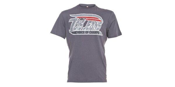 Pánské šedé tričko Lois s šedým vintage potiskem
