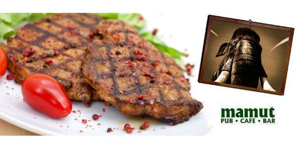 178 Kč za DVA šťavnaté vepřové steaky a DVĚ přílohy od Mamuta!