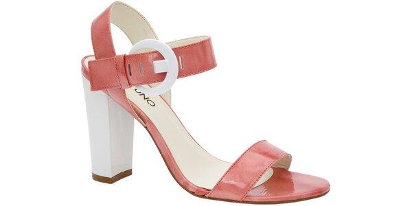 Dámské růžové sandále Via Uno na vysokém podpatku