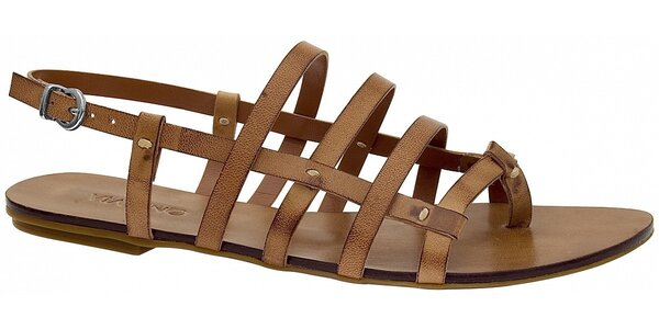 Dámské světle hnědé kožené sandále Via Uno