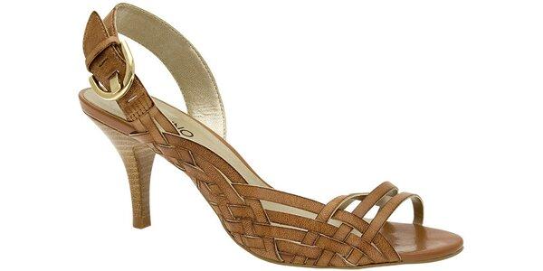 Dámské světle hnědé sandále Via Uno s propletenými pásky