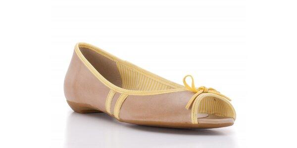 Dámské světle béžové balerínky Via Uno se žlutými proužky
