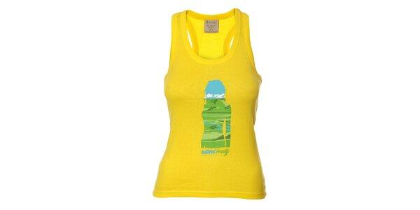 Dámské citrónově žluté sportovní tílko Sherpa s potiskem