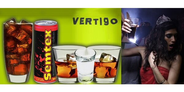 75 Kč za DVA rumy, DVĚ kofoly a ČTYŘI Křídla v baru Vertigo