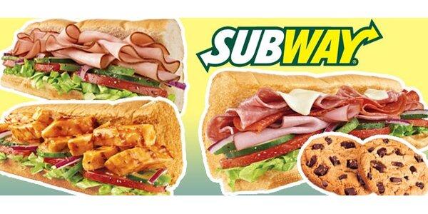 99 Kč za DVA libovolné 15cm sendviče a DVĚ cookies v Subway Rohlenka!