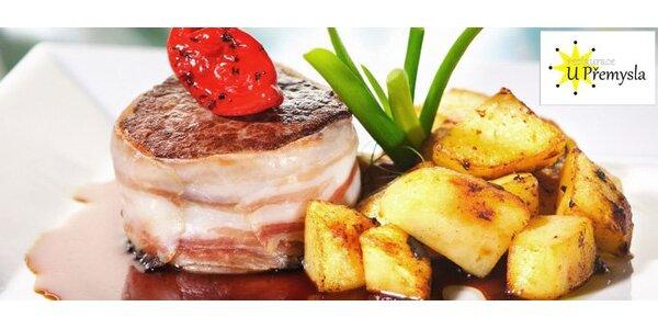 169 Kč za DVA poctivé vepřové steaky s přílohou dle výběru.