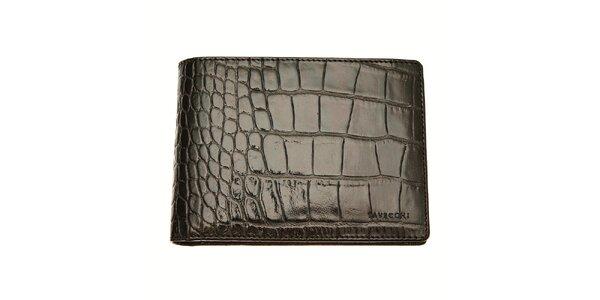 Černá pánská peněženka Tavecchi s krokodýlím motivem