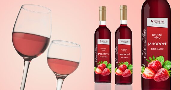6 lahví polosladkého jahodového vína ze Slovenska