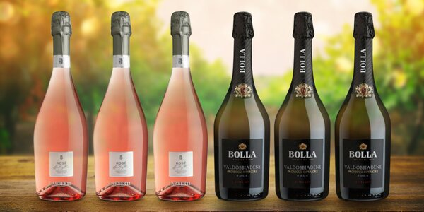 6 lahví italských šumivých vín Prosecco a Spumante