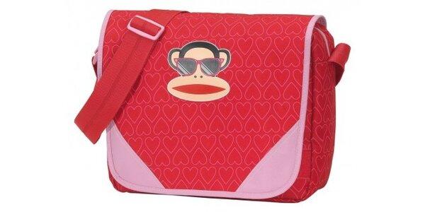 Dámská červená taška Paul Frank messenger se veselým potiskem