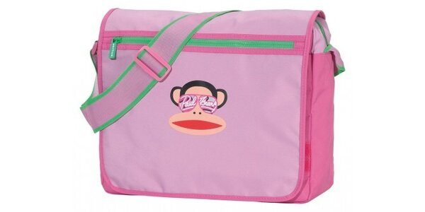 Dámská růžová taška Paul Frank messenger se zeleným zipem