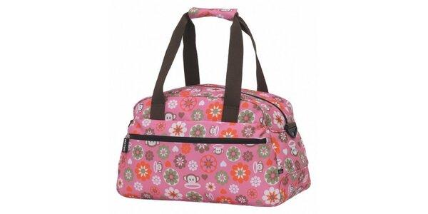 Růžová cestovní taška Paul Frank s veselým potiskem