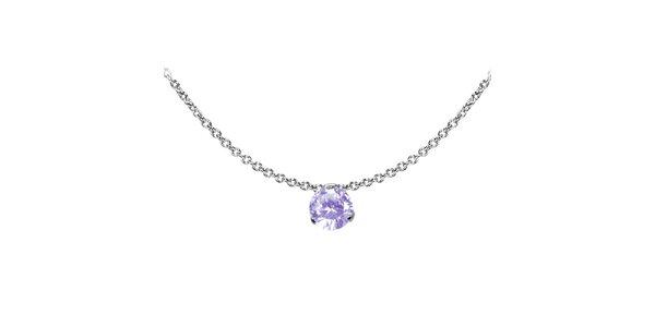 Dámský ocelový náhrdelník Tribal Piercing s fialovým kamínkem
