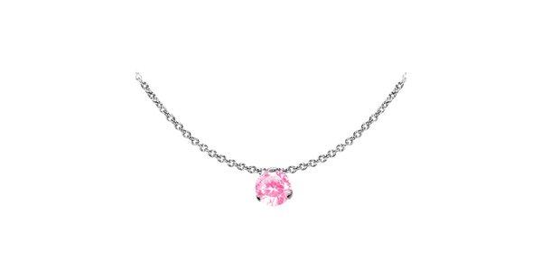 Dámský ocelový náhrdelník Tribal Piercing s růžovým kamínkem