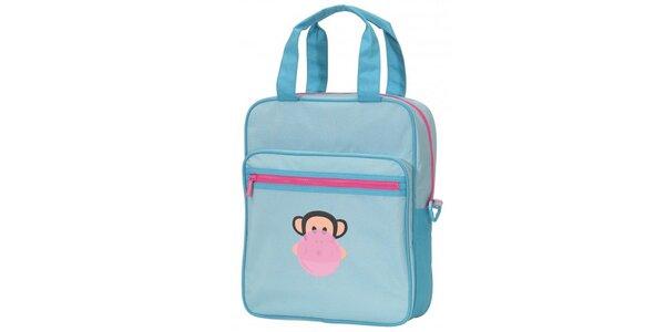 Dámská světle modrá taška Paul Frank s růžovým zipem
