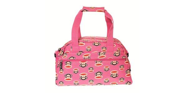 Dámská růžová cestovní taška Paul Frank s veselým potiskem