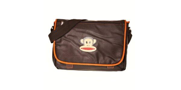 Tmavě hnědá taška Paul Frank messenger s oranžovým lemem