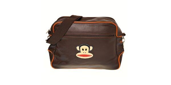 Tmavě hnědá taška Paul Frank s oranžovým lemem