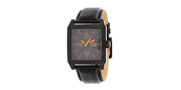 Pánské černé ocelové hodinky DKNY s koženým řemínkem