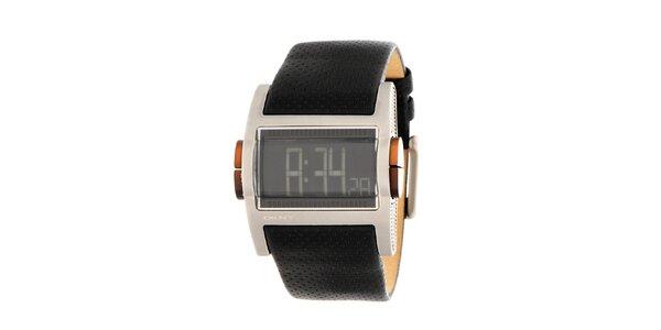 Pánské ocelové digitální hodinky DKNY s černým koženým řemínkem