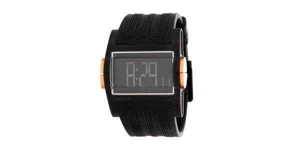 Pánské černé digitální hodinky DKNY se silikonovým řemínkem