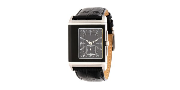 Pánské černo-stříbrné ocelové hodinky DKNY s koženým řemínkem
