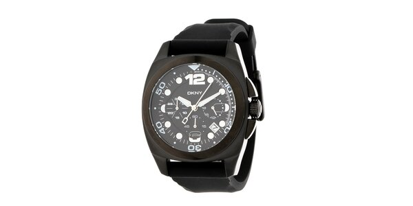 Pánské černé ocelové hodinky DKNY se silikonovým řemínkem