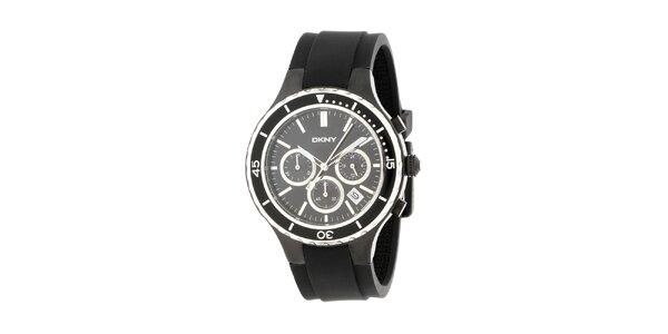 Pánské černé hodinky DKNY s černým silikonovým řemínkem