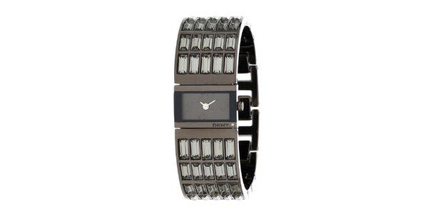 Dámské ocelové hodinky DKNY s broušenými kamínky