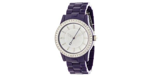 Dámské ocelové hodinky DKNY s fialovým keramickým řemínkem a kamínky