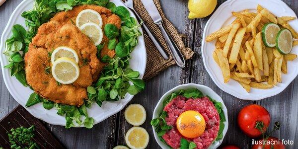 Masová hostina pro 4 osoby: Řzky, tatarák a hranolky