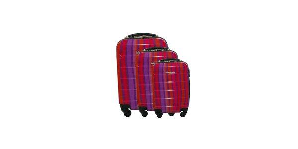 Dámský červeno-fialový pruhovaný set tří kufrů na kolečkách Lulu Castagnette