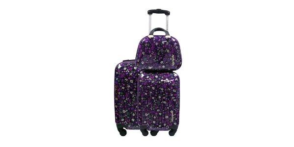Dámský černo-fialový květovaný set dvou kufrů a kosmetické tašky Lulu…
