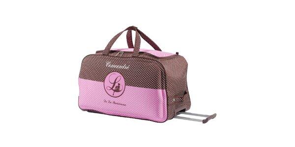 Dámská růžovo-hnědá taška na kolečkách Lollipops