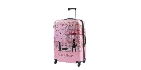 Dámský růžový kufr na kolečkách s potiskem Lollipops