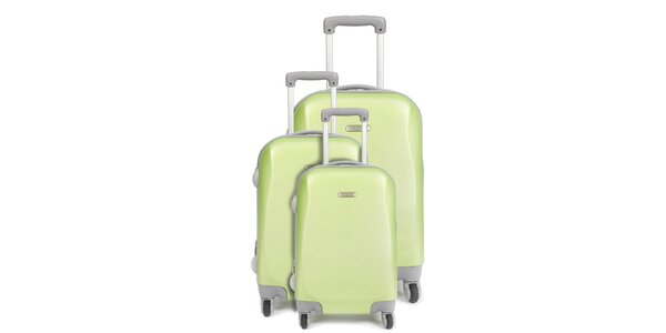 Set tří zelených kufrů na kolečkách Artvi