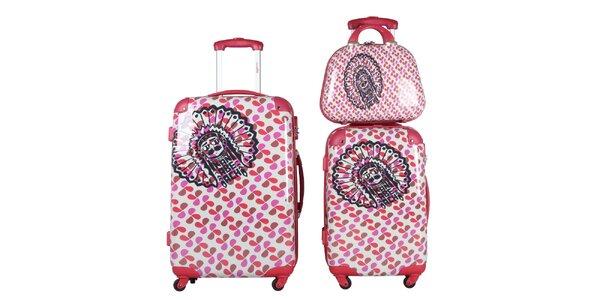Dámský červeno-růžovo-bílý set dvou kufrů a kosmetické tašky KanaBeach